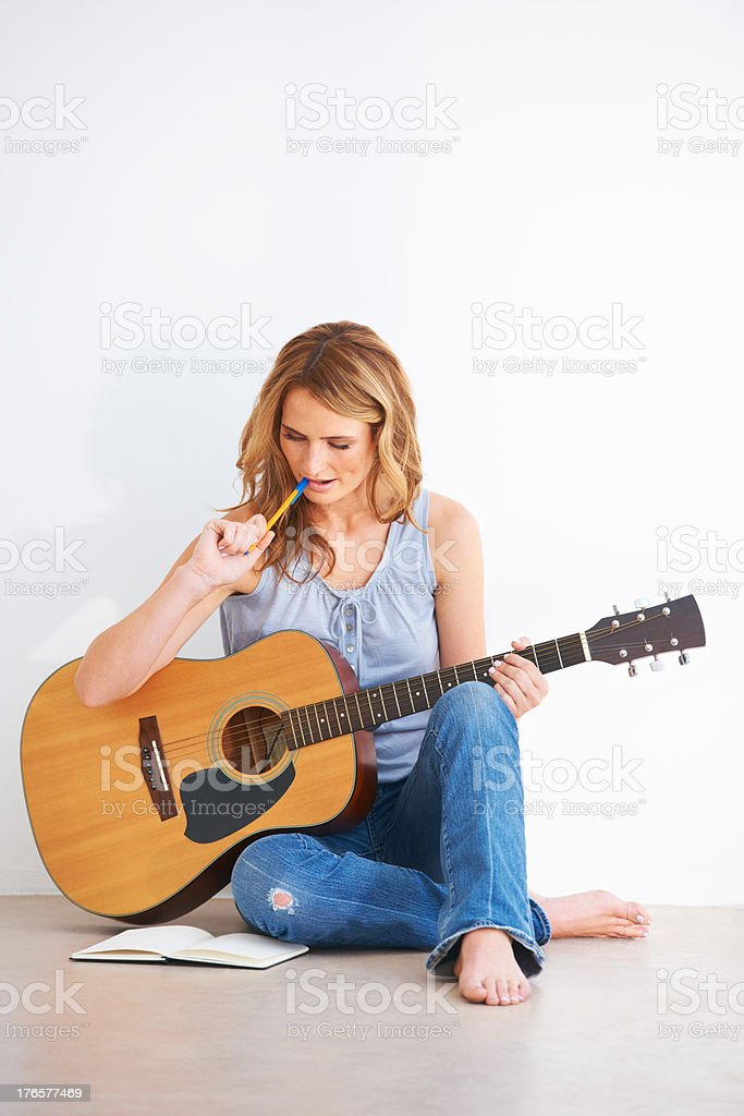 Writing the perfect tune stock photo