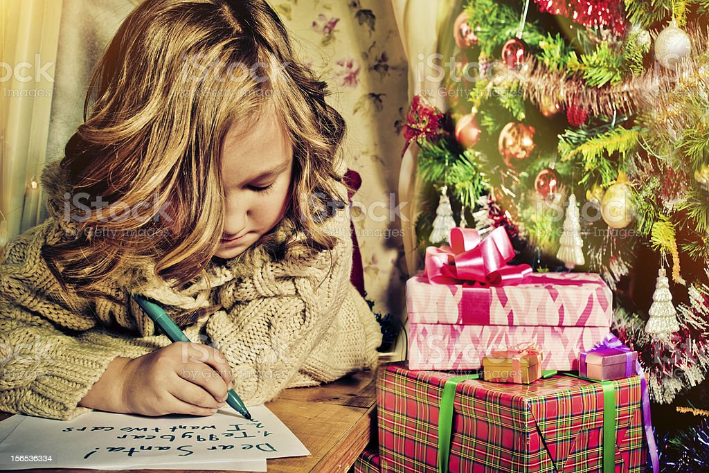 Writing to Santa stock photo