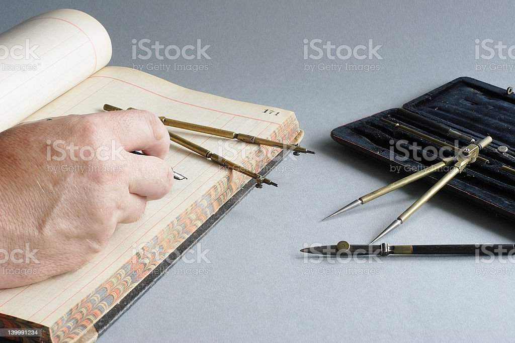 Writing with Old Pen royalty-free stock photo