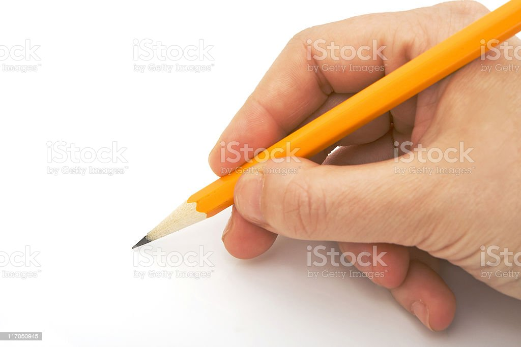 writing with pencil isolated stock photo