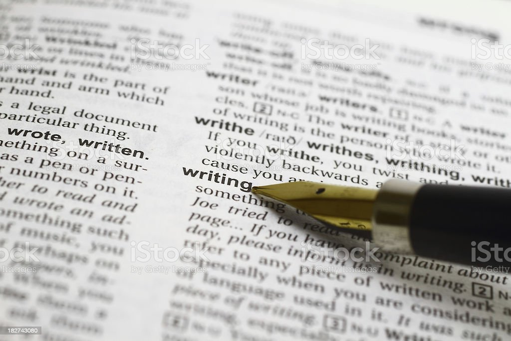 Writing word and fountain pen stock photo