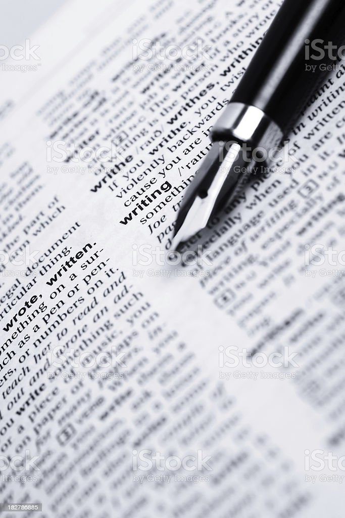 Writing word and fountain pen royalty-free stock photo