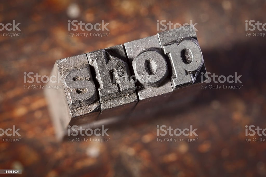 SHOP Written In Old Metal Letterpress Type royalty-free stock photo