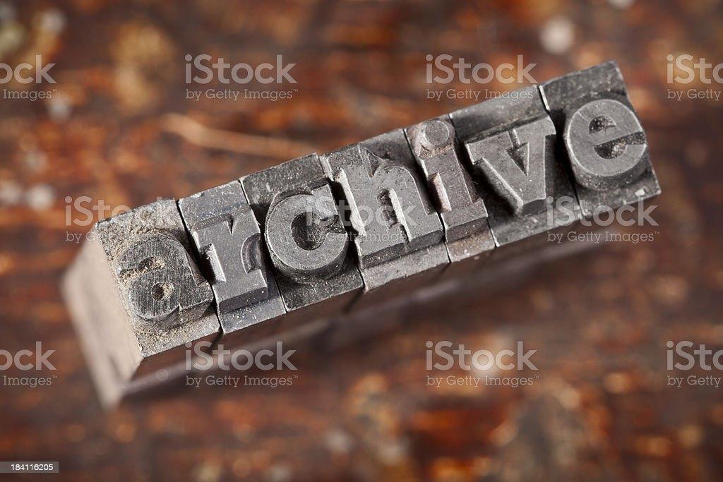 ARCHIVE Written In Old Metal Letterpress Type royalty-free stock photo