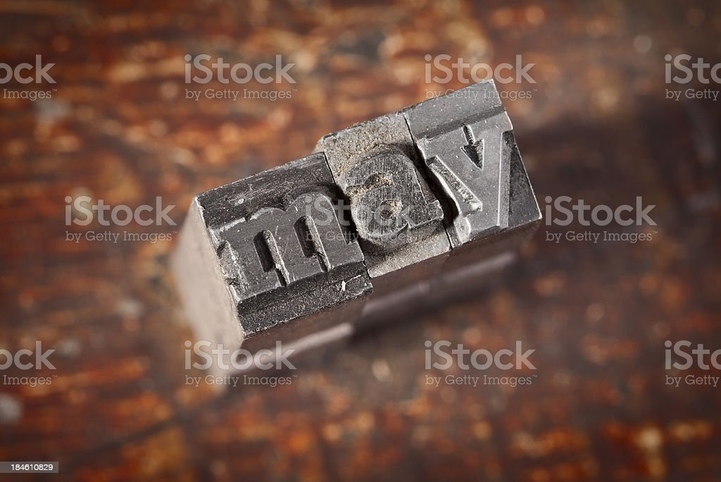 MAY Written In Old Metal Letterpress Type royalty-free stock photo