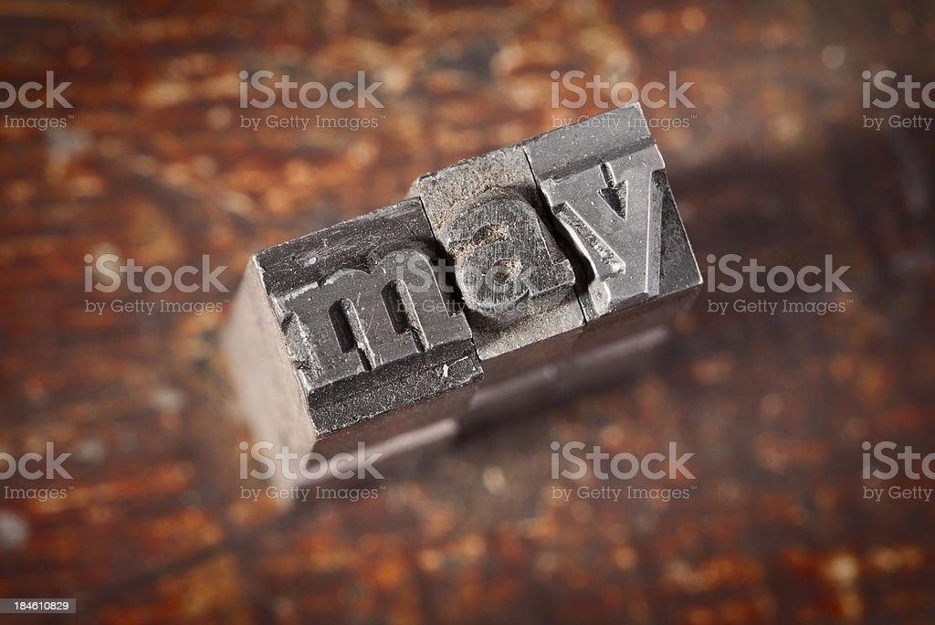 MAY Written In Old Metal Letterpress Type stock photo