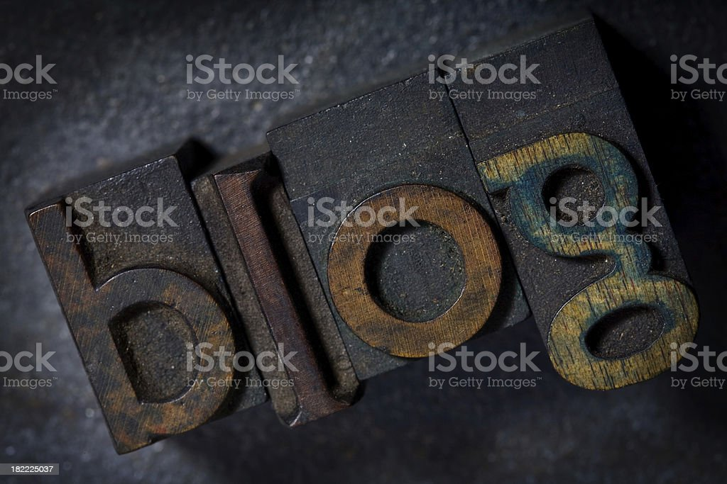 BLOG written in old wooden letterpress on metal royalty-free stock photo