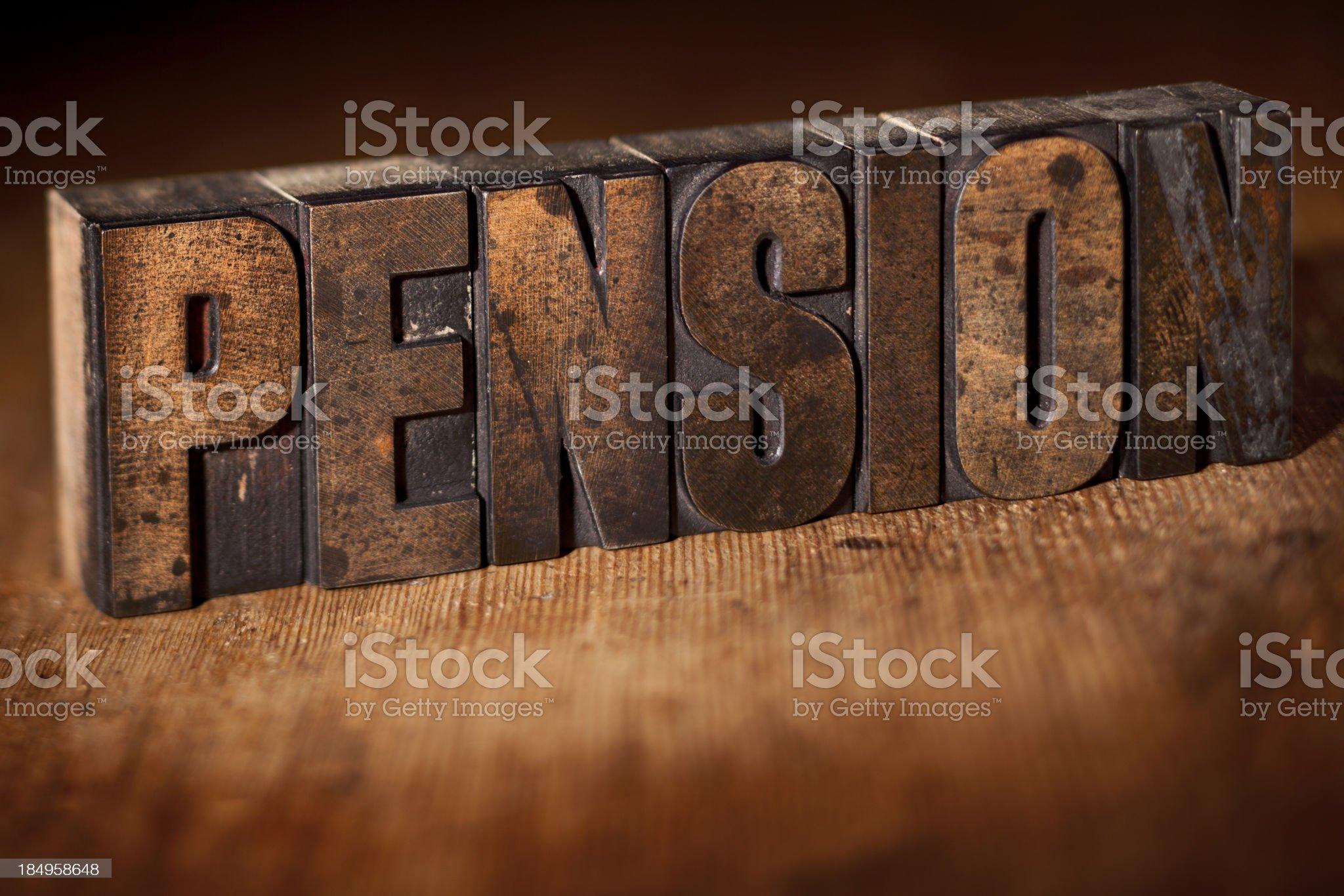 PENSION written in old wooden letterpress royalty-free stock photo