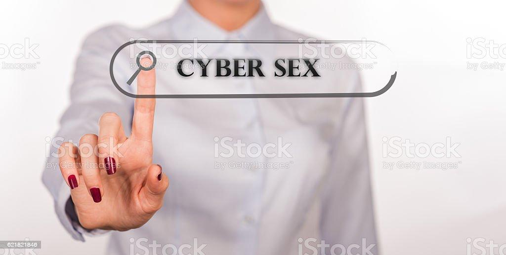 CYBER SEX written in search bar on virtual screen stock photo