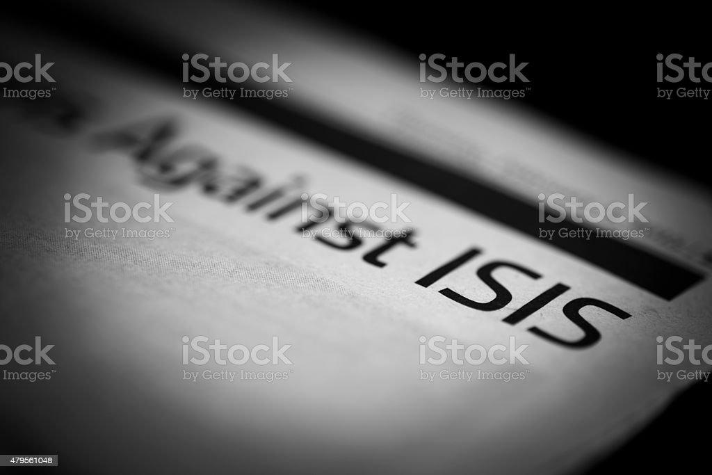 ISIS written newspaper. stock photo
