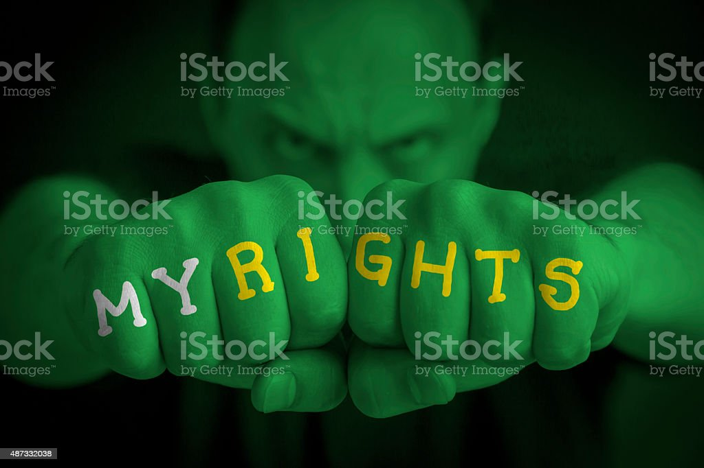 MY RIGHTS written on an angry man fists royalty-free stock photo
