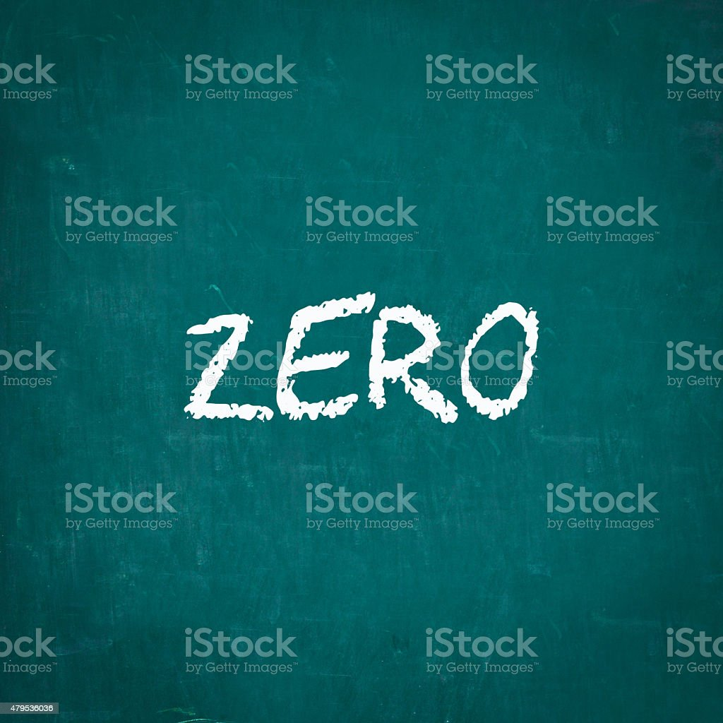 ZERO written on chalkboard stock photo