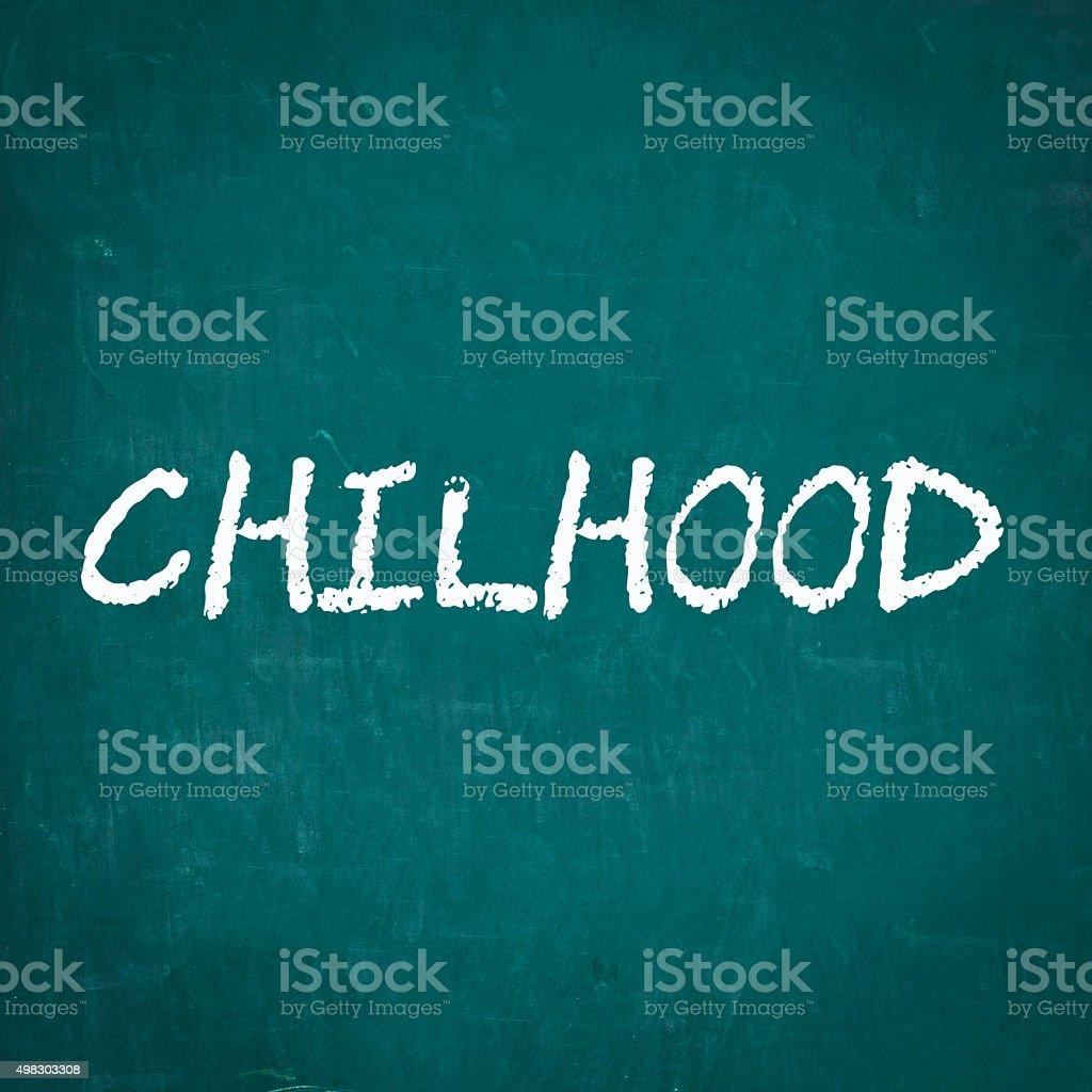 CHILHOOD written on chalkboard stock photo