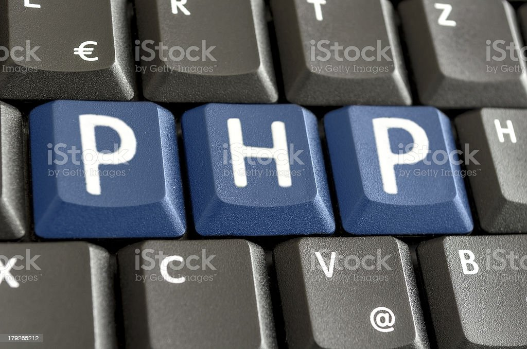 PHP written on computer keyboard royalty-free stock photo
