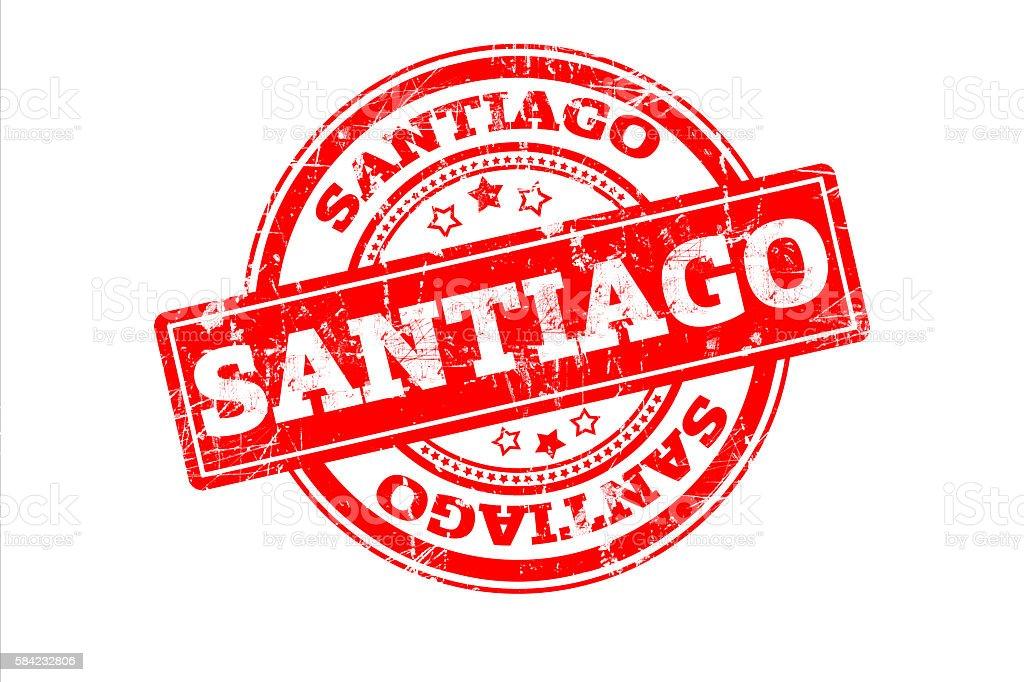 SANTIAGO written on red grunge round vintage rubber stamp. stock photo