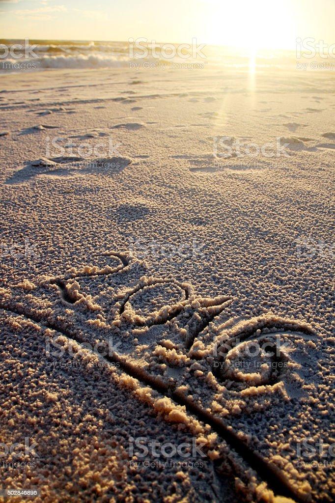 2016 written on sand on the beach stock photo