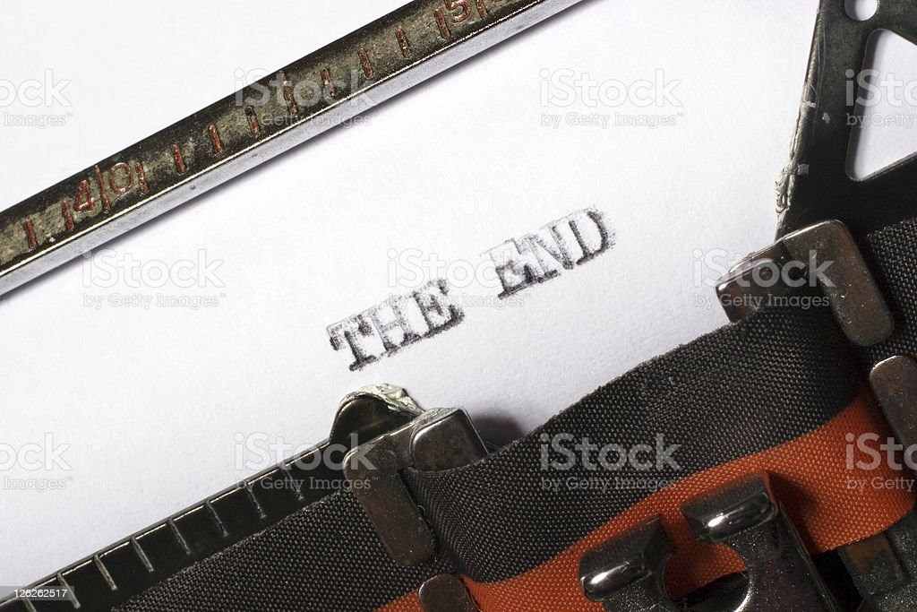THE END written or typed oton old typewriter royalty-free stock photo