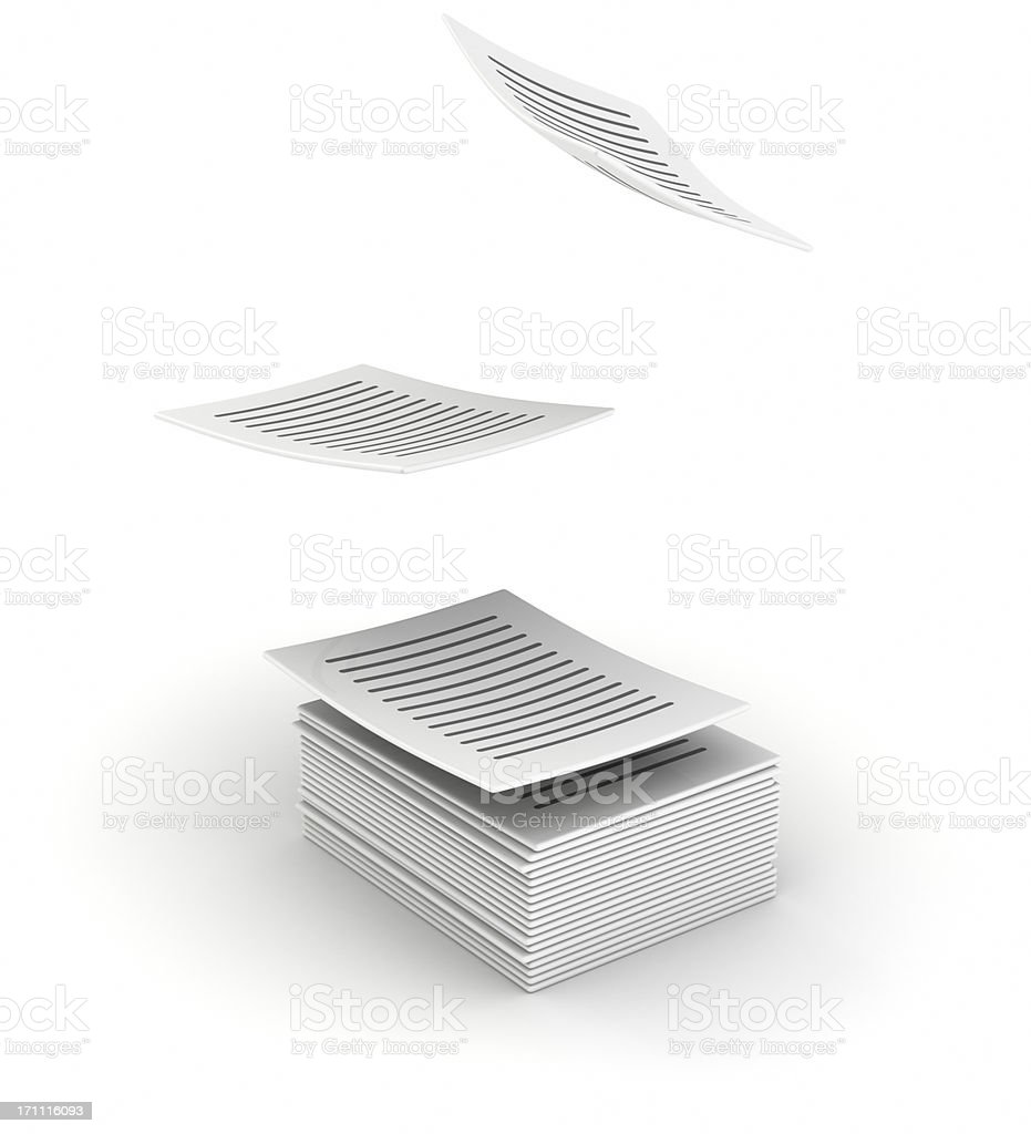 Written printed pages flying up stock photo