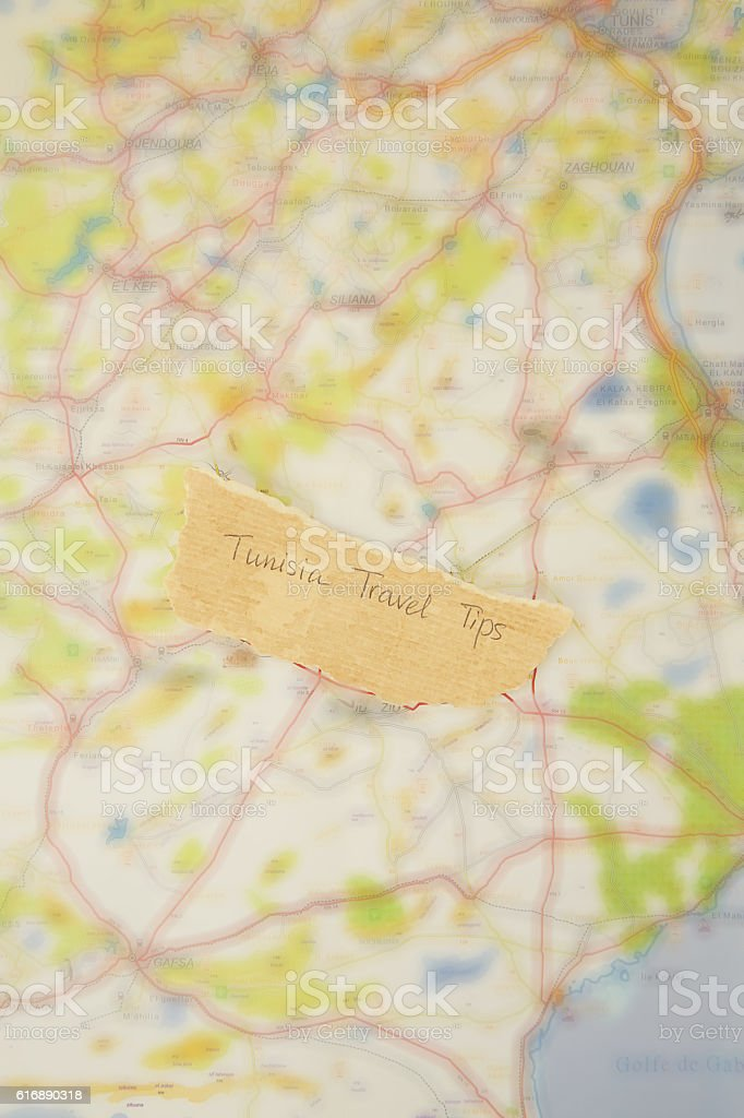 Written text on the map of Tunisia stock photo