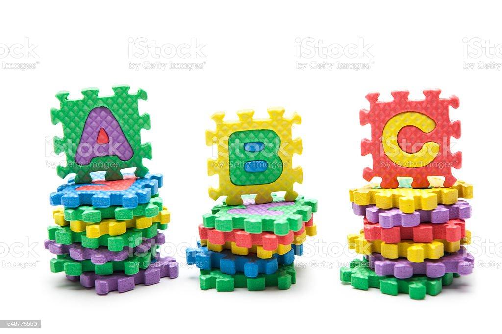 'ABC' written with alphabet puzzle stock photo