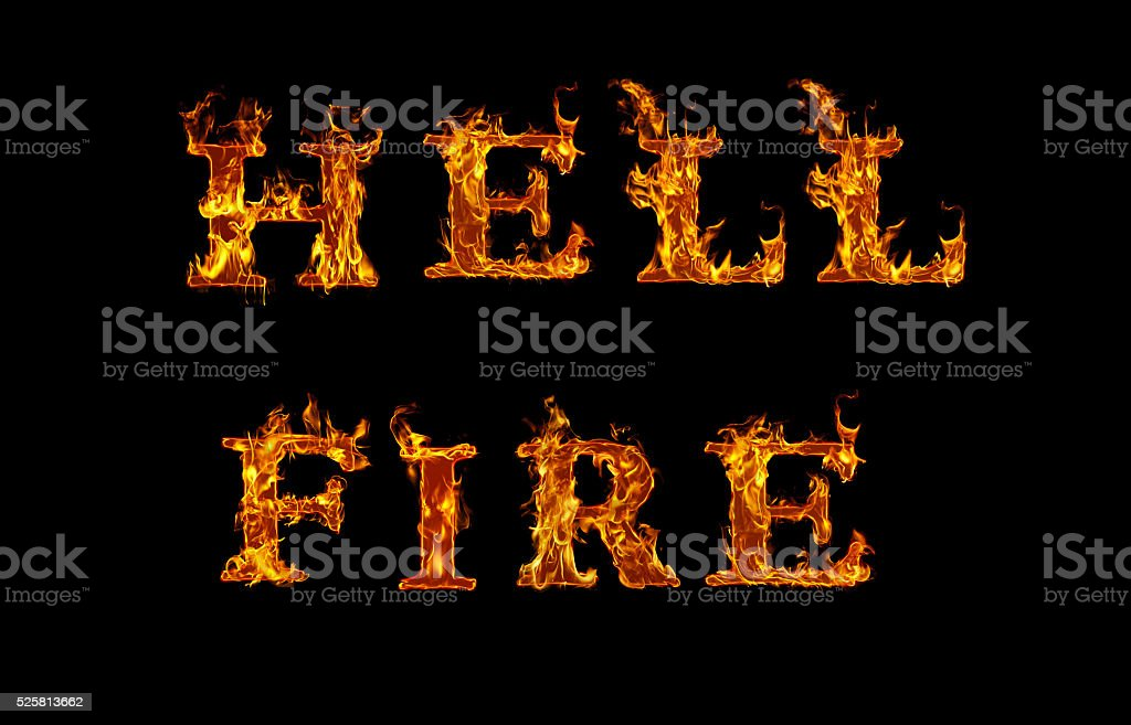 HELL FIRE written with burning letters in flame stock photo