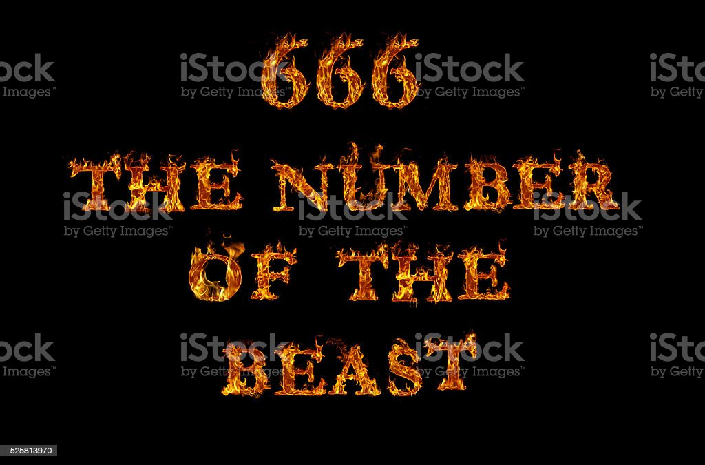 666 written with burning letters in flame stock photo