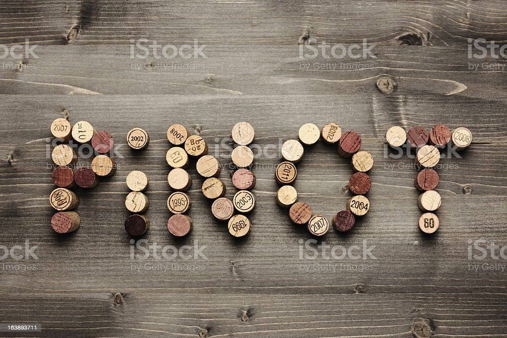 'PINOT' written with corks stock photo