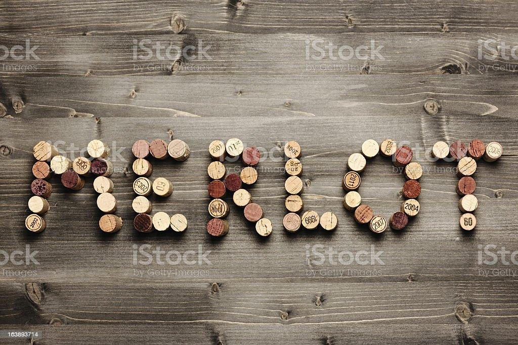 'MERLOT' written with corks stock photo