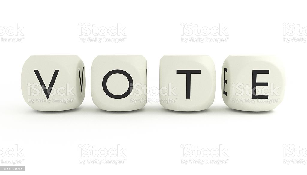 VOTE - written with dices stock photo