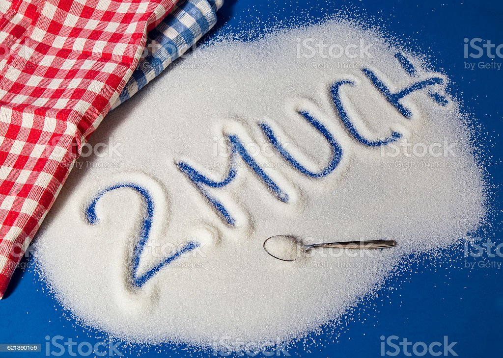 TOO MUCH written with sugar royalty-free stock photo