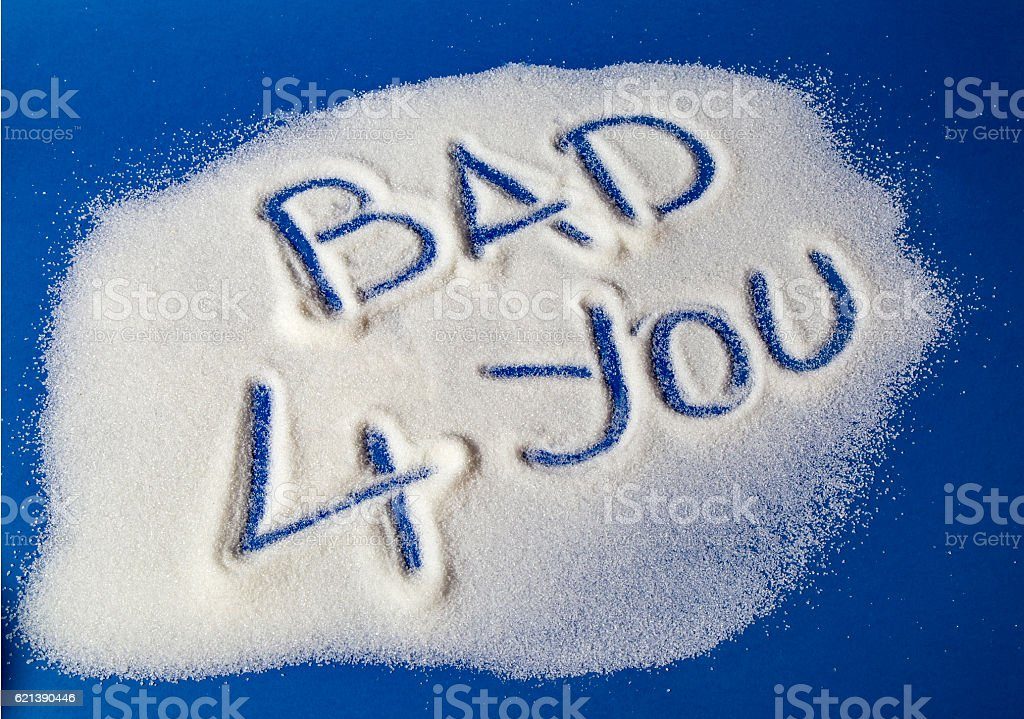 BAD FOR YOU written with  sugar royalty-free stock photo