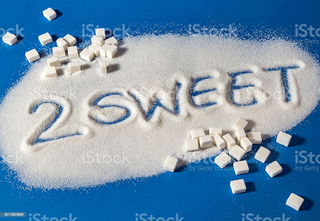 TOO SWEET written with  sugar royalty-free stock photo