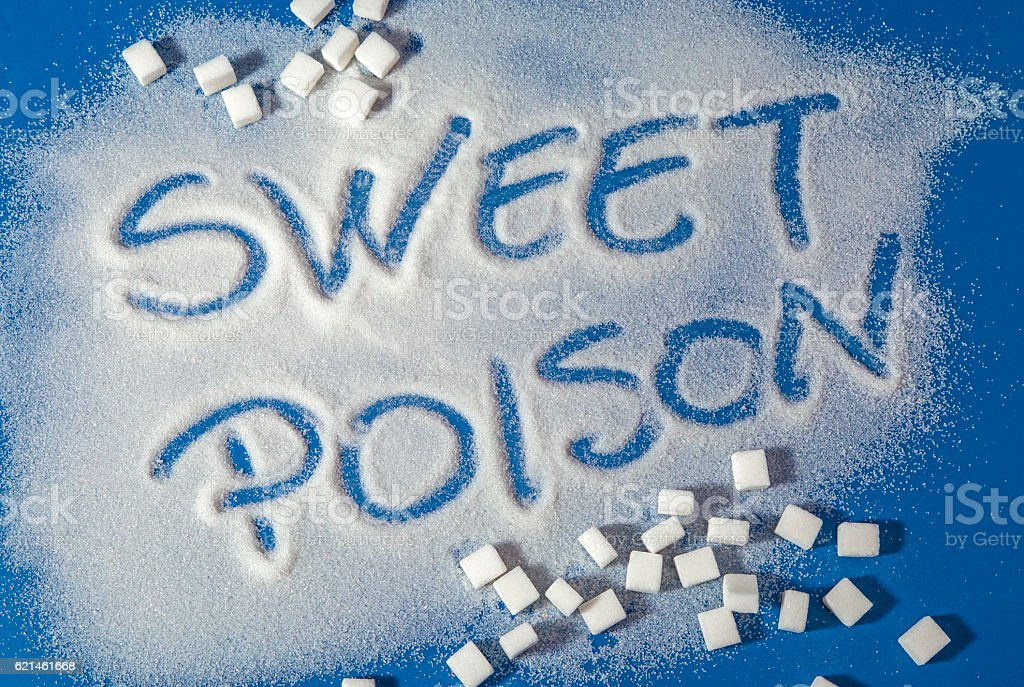 SWEET POISON written with sugar royalty-free stock photo