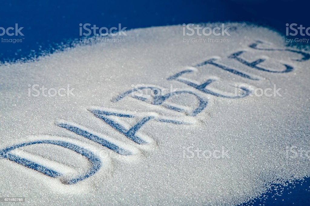 DIABETES written with sugar royalty-free stock photo