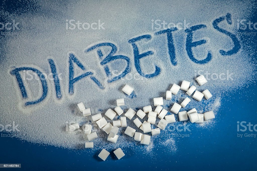 DIABETES written with sugar royalty-free stock photo