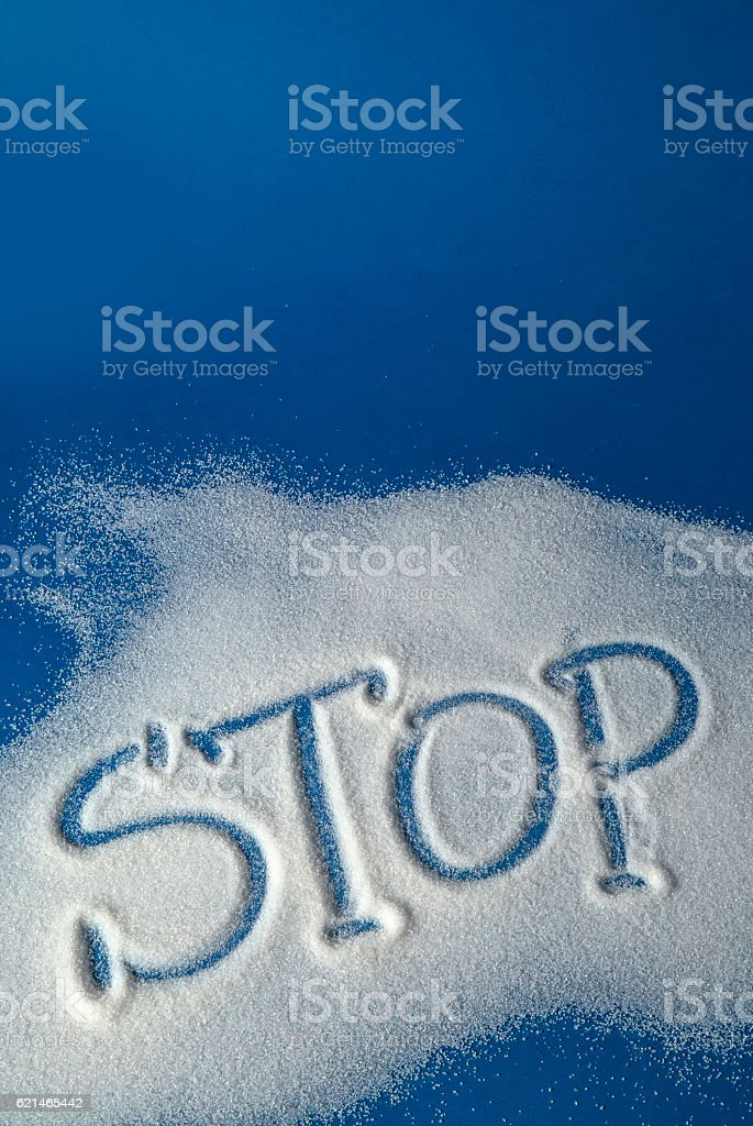 STOP written with sugar royalty-free stock photo