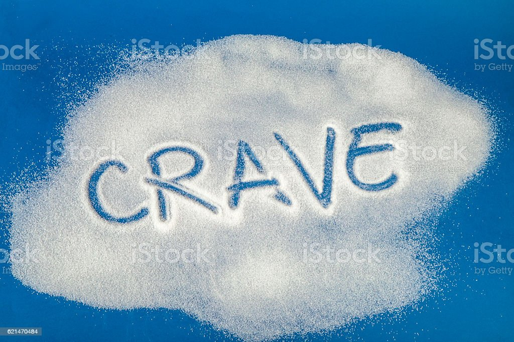 CRAVE written with sugar royalty-free stock photo