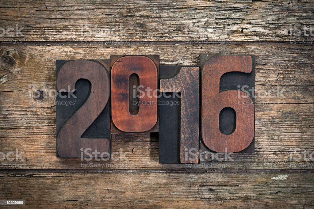 2016 written with vintage letterpress printing blocks stock photo