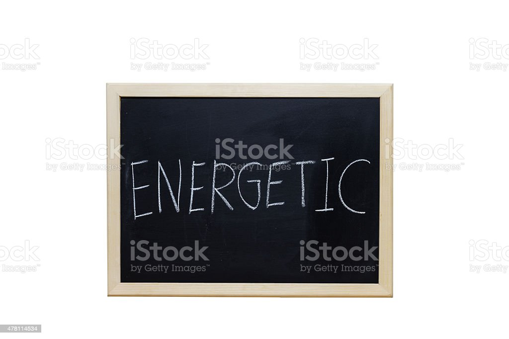 ENERGETIC written with white chalk on blackboard. stock photo