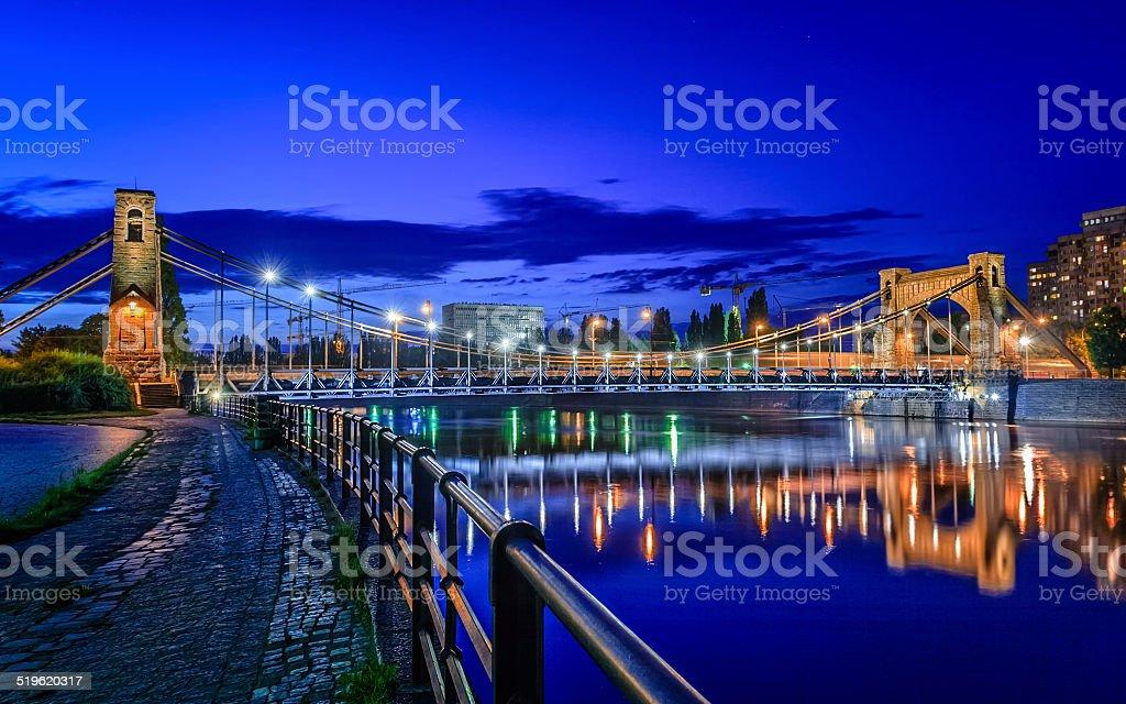 Wroclaw by night (Most Grunwaldzki) stock photo