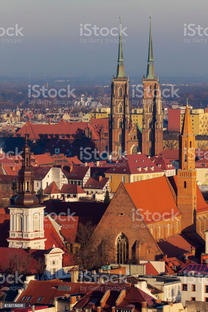Wroclaw Cathedral - aerial photo stock photo