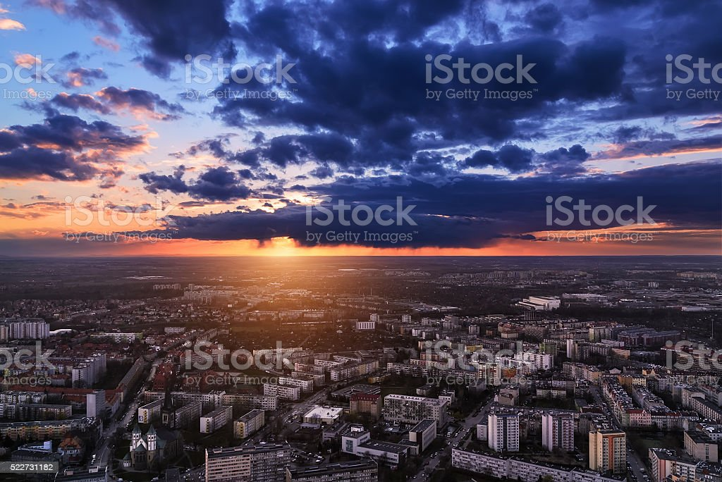 Wroclaw city under sunset, panoramic air view. Poland stock photo