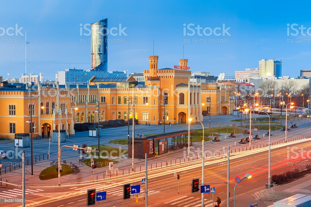 Wroclaw Main Railway Stationin the morning, Poland stock photo