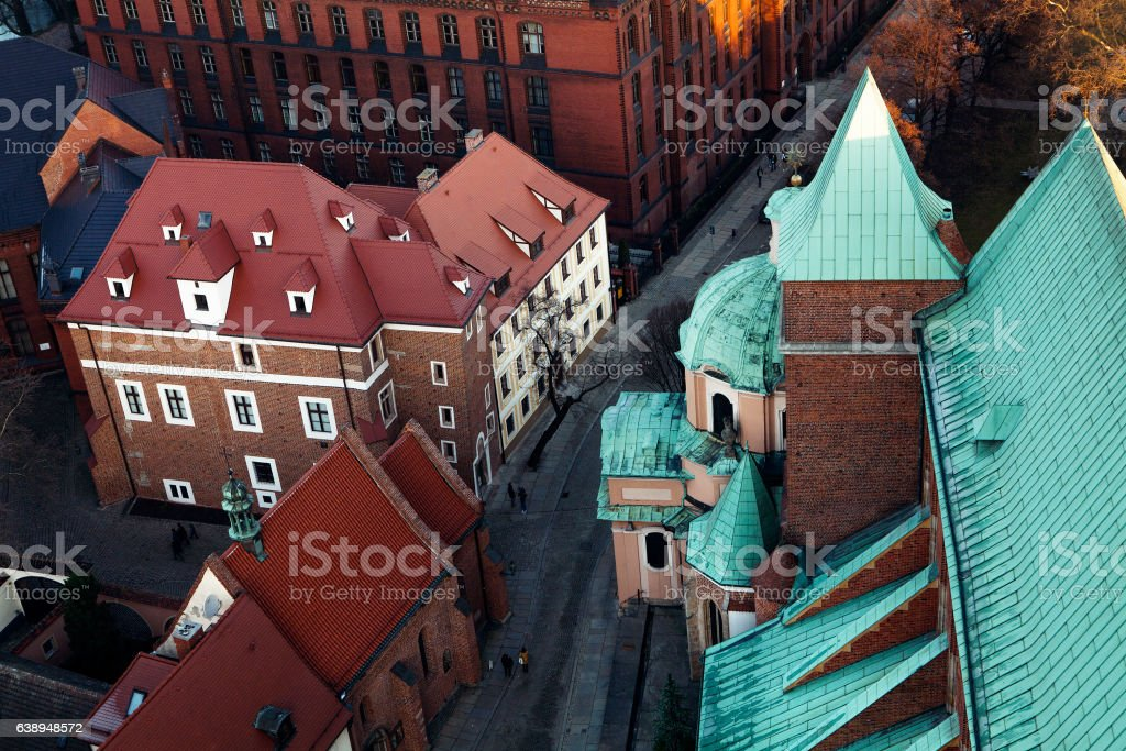 Wroclaw Old Town roofs at sunset stock photo