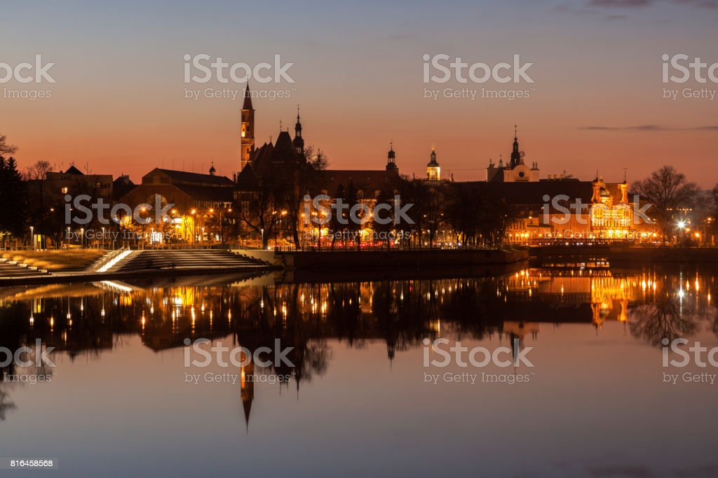Wroclaw panorama at sunrise stock photo