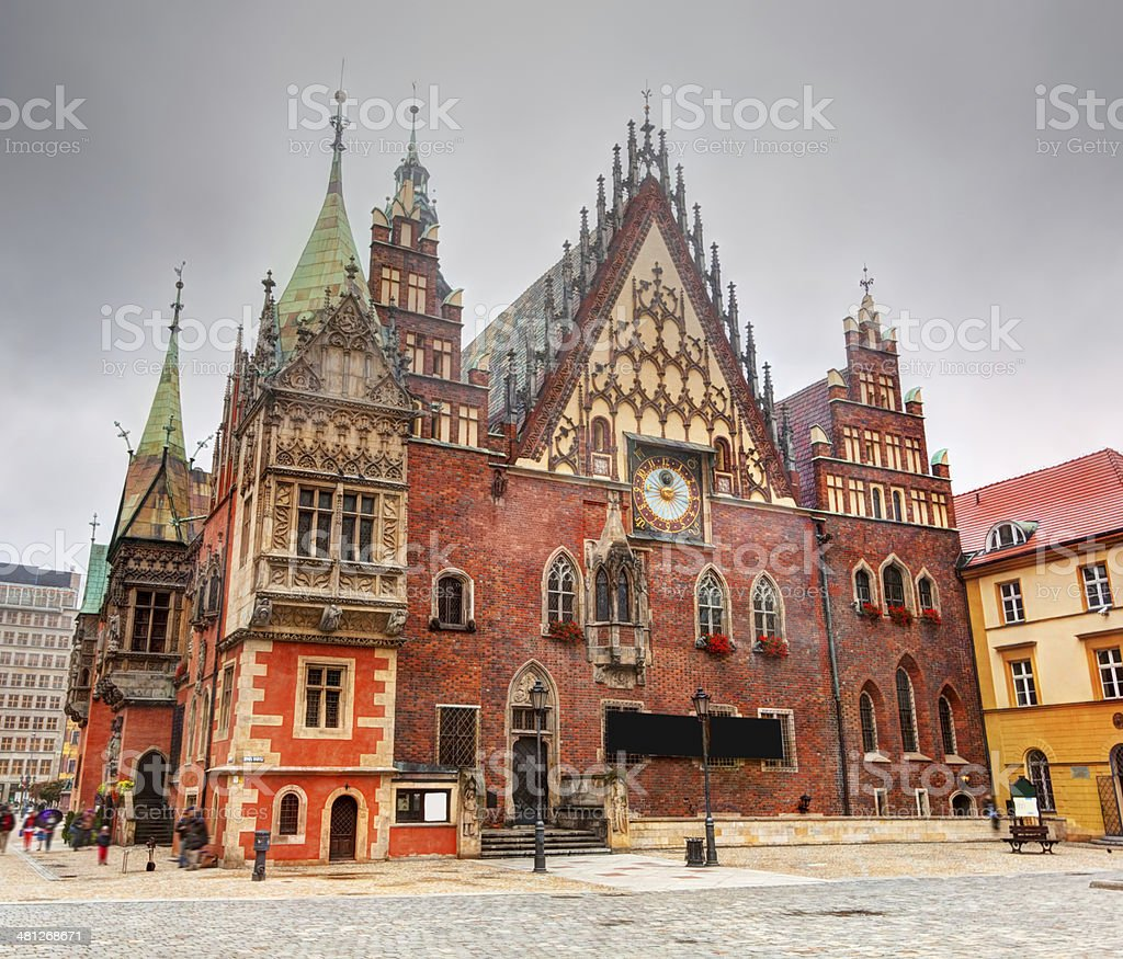 Wroclaw, Poland. The Town Hall on market square. Silesia stock photo