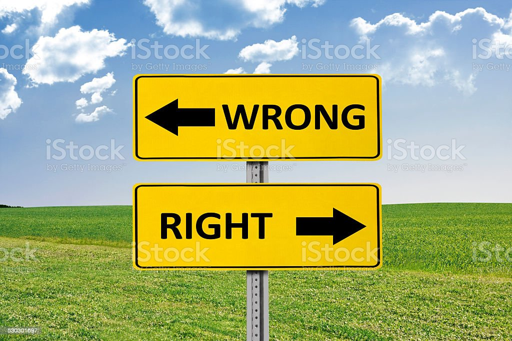 Wrong and Right Road Sign stock photo