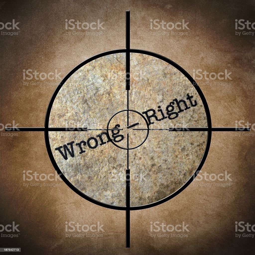 Wrong - right target concept royalty-free stock photo