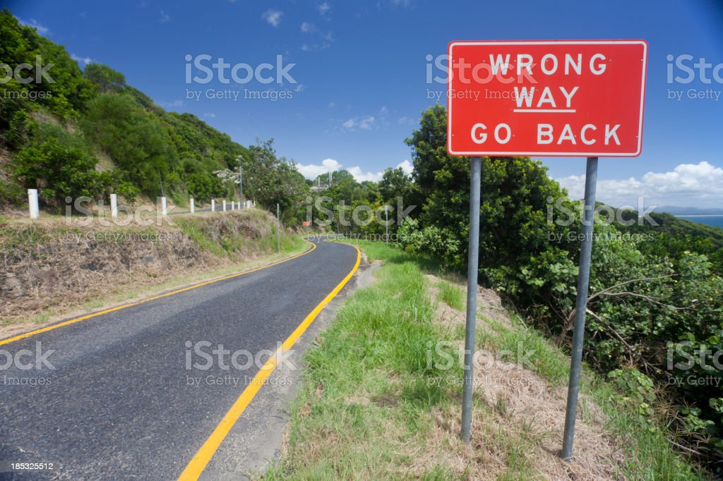 Wrong Way Go Back Sign royalty-free stock photo