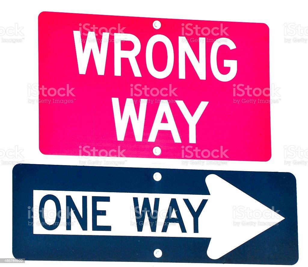 Wrong Way/ One Way Sign stock photo